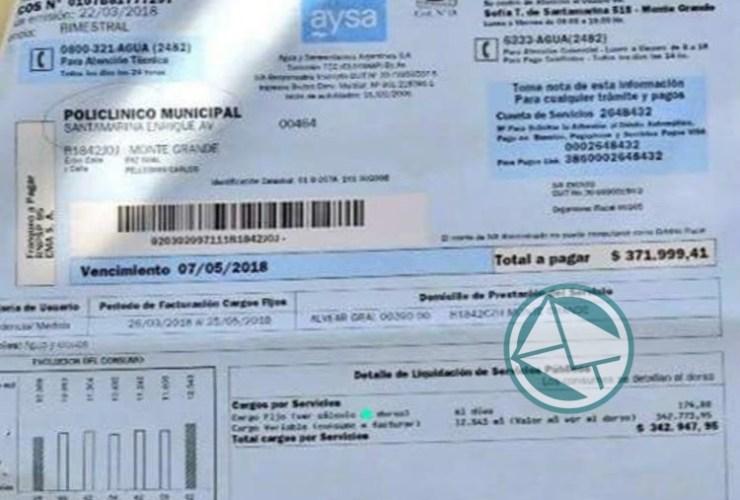 boleta de Agua del Hospital Santamarina