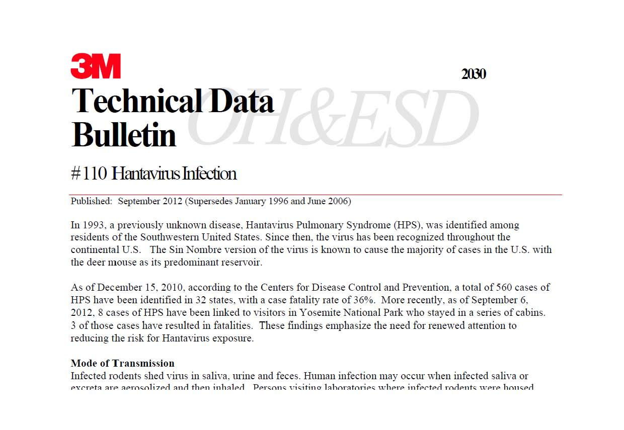 eLCOSH : 3M Technical Data Bulletin #110: Hantavirus Infection