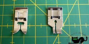 Pisante normal a la izquierda y pisante de patchwork a la derecha