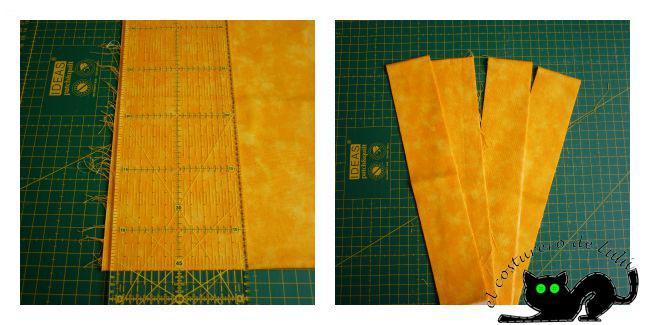 Emparejamos la tela y cortamos las tiras de 5 cm
