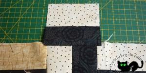 Este es el resultado de coser el primer cuadrado a la tira