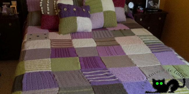 La colcha imitando a patchwork