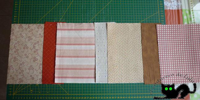 Preparamos las telas que van en el interior del estuche