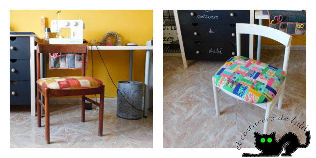 Antes y después de la silla tapizada
