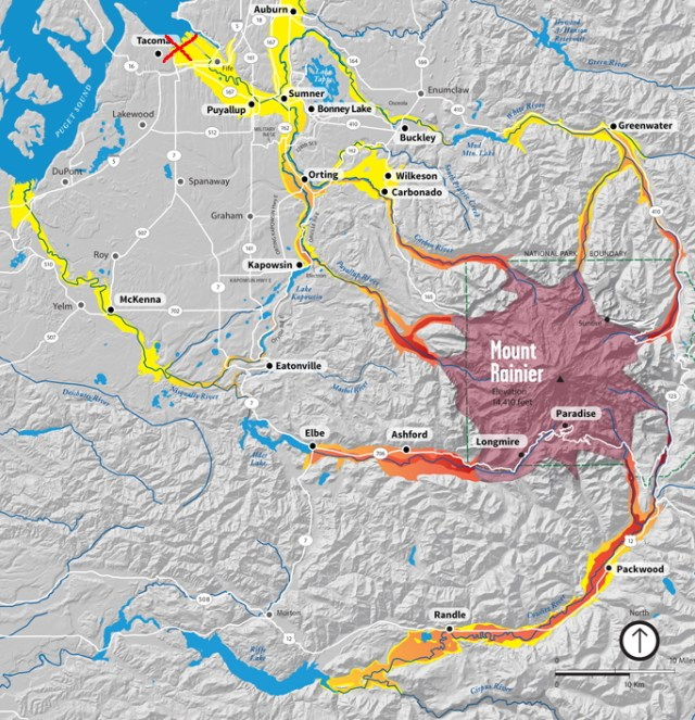 Lahar hazard map for Pierce County