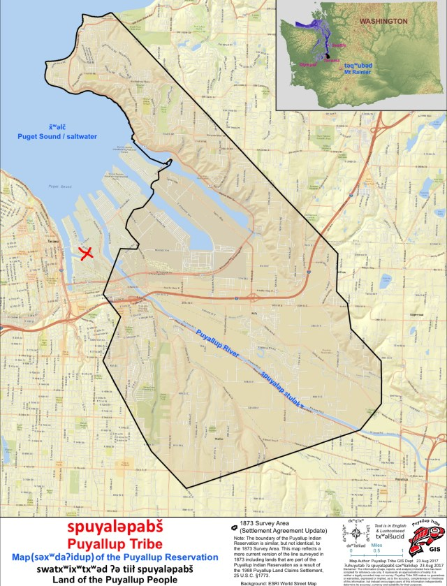 Map showing the boundaries of the Puyallup Reservation and location of NWDC