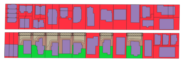 A map of one city block with individual lots shaded green if they could have a DADU and red if they couldn't.  Existing building outlines and the area in which a DADU might fit are also shown.