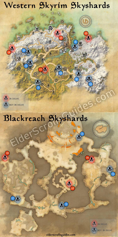 Reaper's March Map : reaper's, march, Western, Skyrim, Blackreach, Skyshards, Elder, Scrolls, Online, Guides