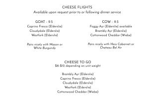 Elderslie Farm Cheese Menu