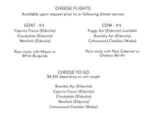 Cheese Menu Elderslie Farm