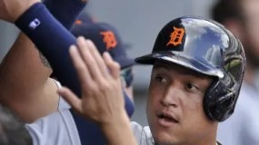 Detroit Tigers' Miguel Cabrera celebrates with teammates in the dugout after hitting a solo home run during the first inning of a baseball game against the Chicago White Sox on Monday, Sept. 5, 2016, in Chicago. (AP Photo/Paul Beaty)