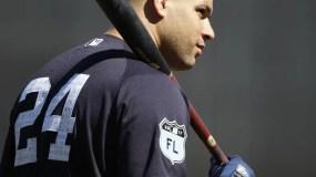 New York Yankees' Gary Sanchez waits for his turn to take batting practice during a spring training baseball workout Friday, Feb. 17, 2017, in Tampa, Fla. (AP Photo/Matt Rourke)
