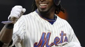 FILE - In this Sept. 29, 2010, file photo, New York Mets shortstop Jose Reyes reacts after hitting a double during the first game of a baseball doubleheader against the Milwaukee Brewers at Citi Field in New York.  A person familiar with the negotiations tells The Associated Press  that Reyes and the Miami Marlins have agreed to a $106 million, six-year contract. The deal includes a club option for a seventh season that, if exercised, would make it worth $120 million. The person spoke Sunday Dec. 4, 2011 on condition of anonymity because the deal had not yet been announced.   (AP Photo/Kathy Willens, File)