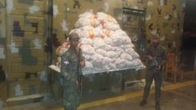 El cargamento de ajo fue incautado por miembros la 5ta. Brigada de Infantería del Ejército.