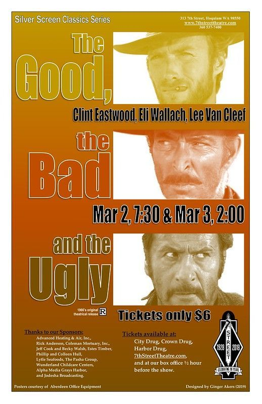 Cartel para la película El Bueno, el Malo y el Feo, con música de Ennio Morricone