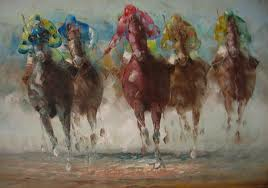Como caballo de carrera va el hombre por la ciudad.