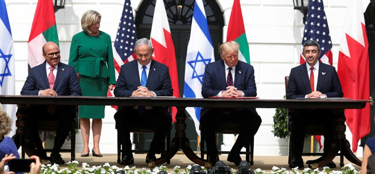 De derecha a izquierda, celebremos la Paz de Israel, EAU y Bahrein