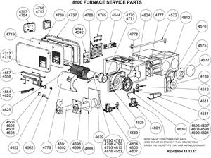 Atwood 8500 series furnace parts