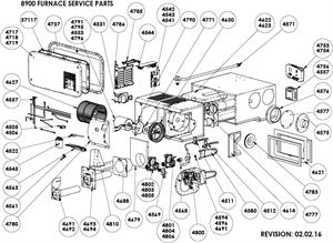 Atwood 8900 series furnace parts exploded view