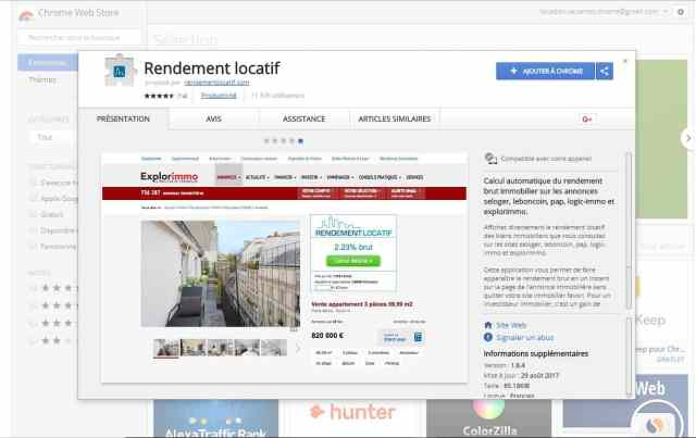 Application chrome rendement locatif
