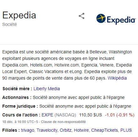 Expedia Inc est un mastodonte de la location de vacances et des voyages, cotée en bourse, avec de nombreuses filiales dont certaines que vous connaissez à coup sûr