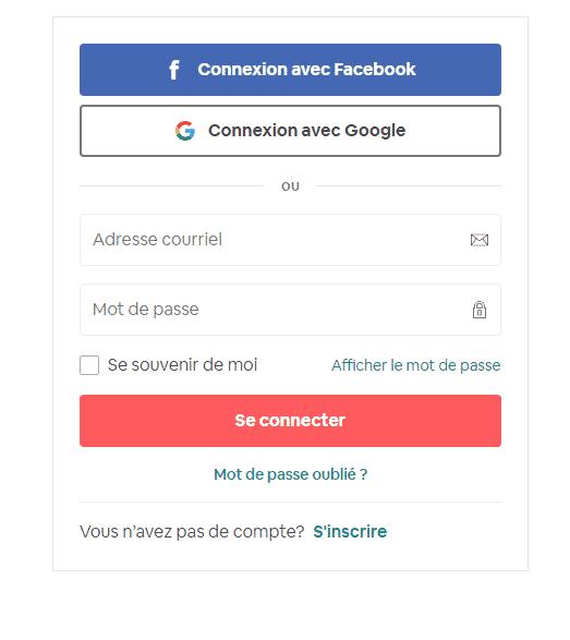 Se connecter à airbnb