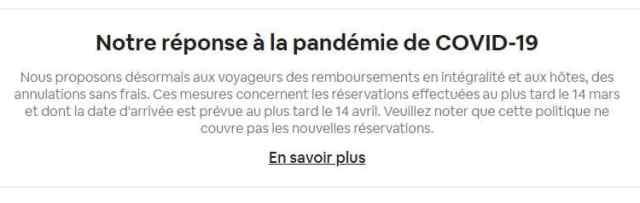 réponse airbnb pandémie coronavirus covid19