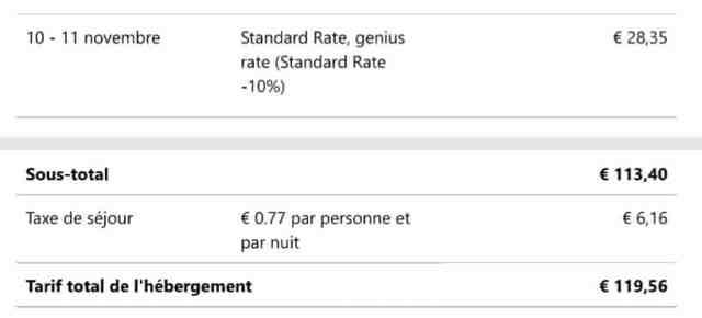 Exemple de reçu facture dans l'interface Extranet de Booking.com