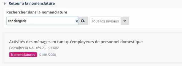 code naf conciergerie INSEE