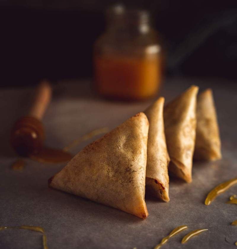 samoussa ou briouates feta miel et noix cuisson au four