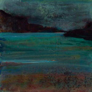 © 2015 Eleanore Ditchburn, Looking out Over Loch Carron, Acrylic on Gessobord 10 x 10 cm