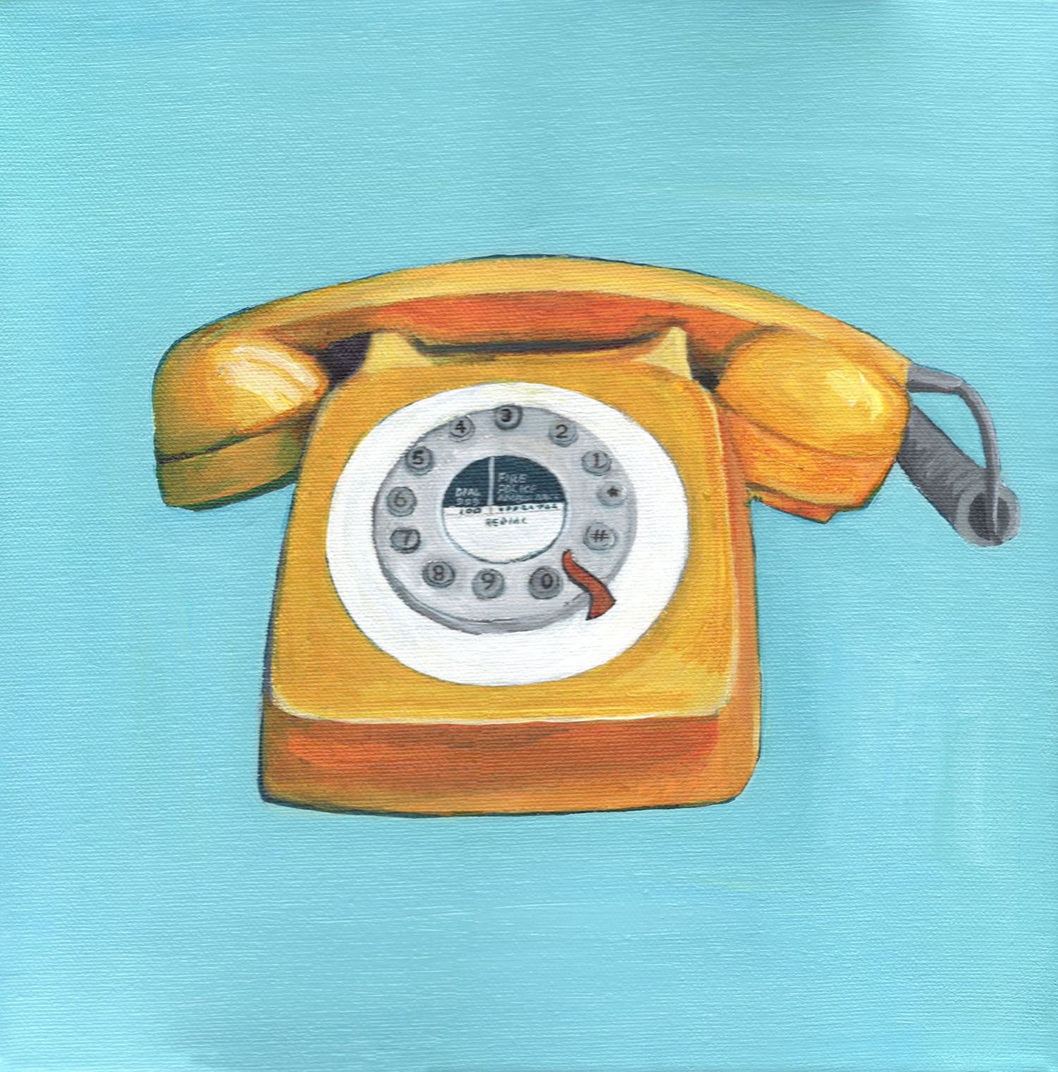 Yellow Telephone - Retro Pop Illustration Painting of Vintage Phone -  Eleanore Ditchburn