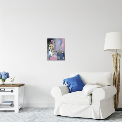 Medium Pink Abstract Living Room 2
