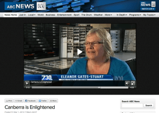 Artist, Dr Eleanor Gates-Stuart, 'Canberra is Enlightened', ABC 7.30 Report by Chris Kimball