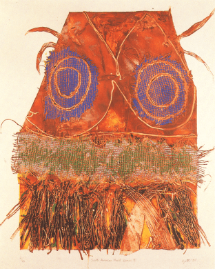 South American Mask II by Eleanor Gates-Stuart, Purchase Prize, Collection of Rank Xerox Ltd, 1986. Tradition and Innovation in Printmaking Today Exhibition.