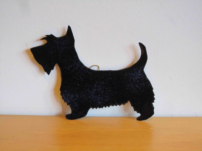 spotty black scottie dog enamelled wall hanging