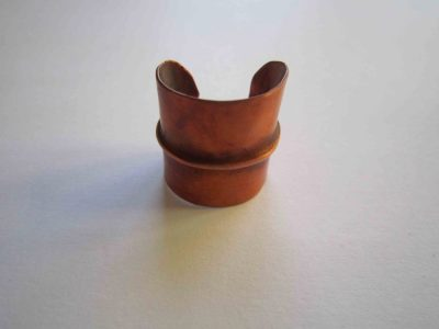 fold formed cuff ring with pale patina
