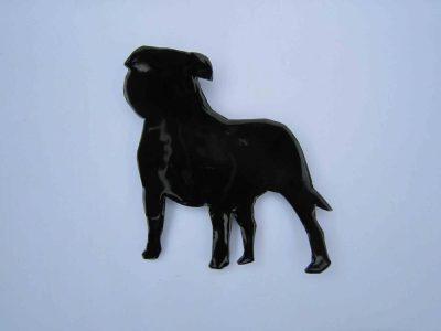 Black enamelled stafforrdshire bull terrier wall hanging