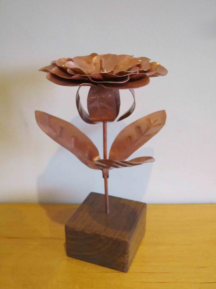 Peony copper flower side view