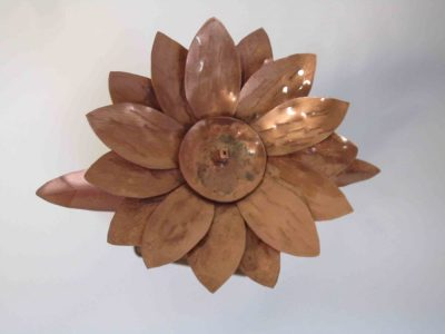 Helianthus copper flower from above showing brazing mark