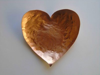 Heart shaped copper bowl