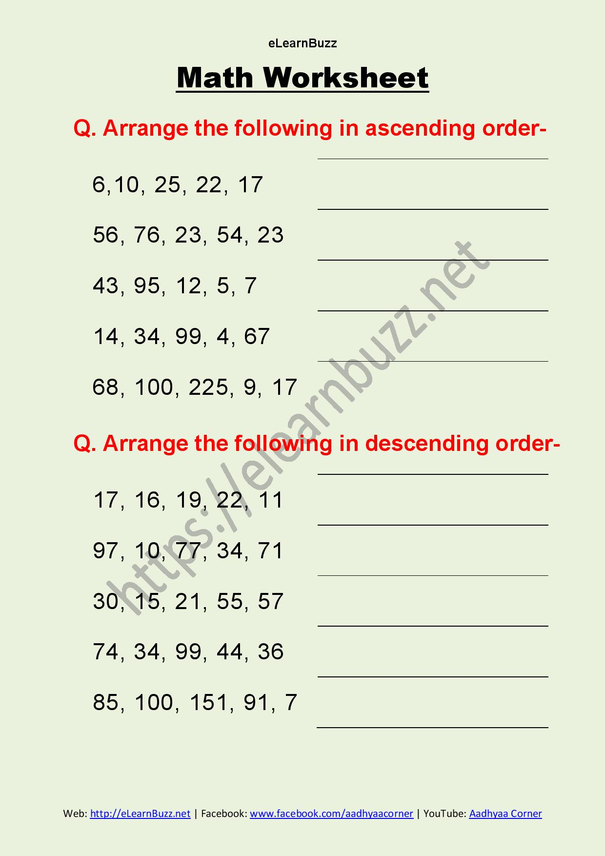 hight resolution of Ascending And Descending Order Worksheets Hd   Printable Worksheets and  Activities for Teachers