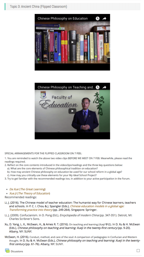 Dr Li prepared a few questions on Moodle to reinforce students' online learning.