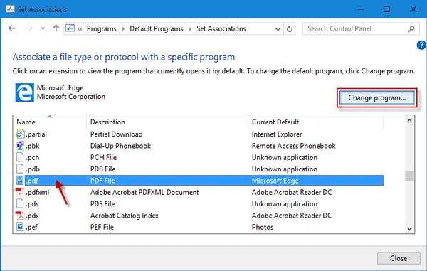 Click Change Program