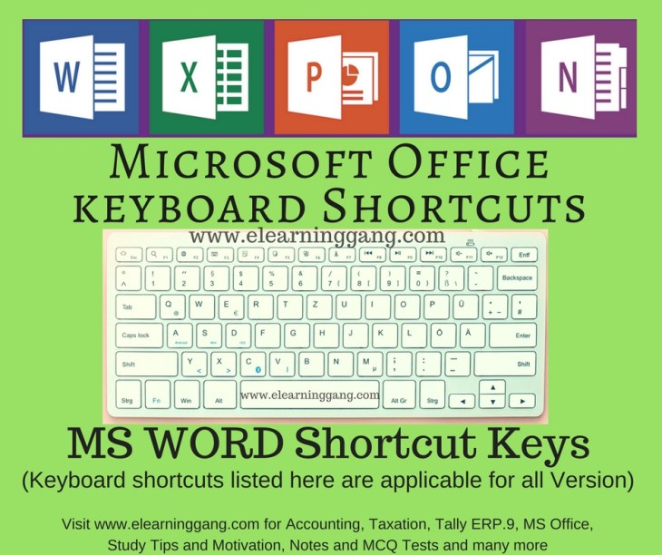 eLearningGang - Shortcut Keys in MS Word
