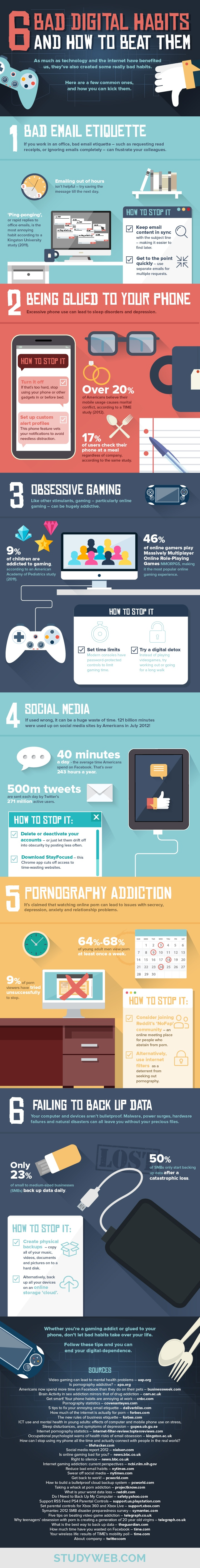 6 Bad Digital Habits and How to Beat Them Infographic