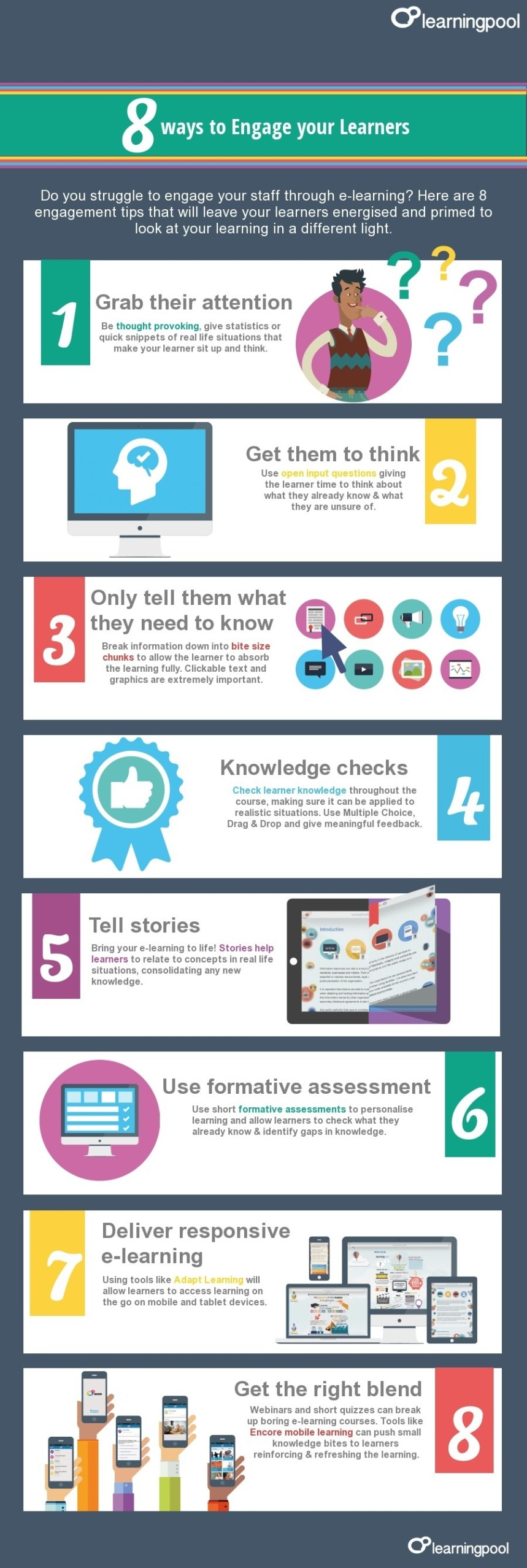 8 Ways to Engage eLearners Infographic