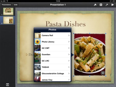 Selecting Replace brings up the Photo library. You can then replace the default image with your own.