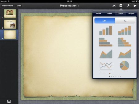Charts allows you to insert charts and edit them with different kinds of data.