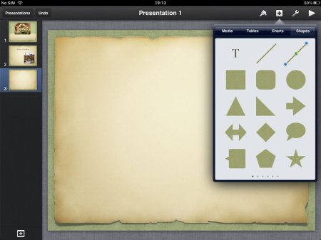 Shapes allows you to add different kinds of shapes.